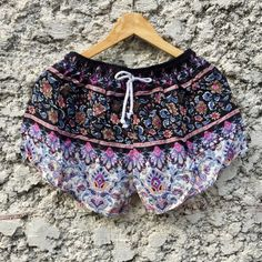 Floral flower Printed Shorts Rayon beach Style by TribalSpiritShop