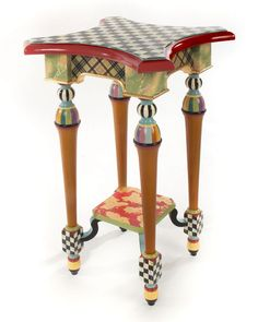 How amazing is this MacKenzie-Childs Tango Table? You can buy it here. Whimsical Painted Furniture, Painted Chairs, Hand Painted Furniture, Funky Furniture, Plywood Furniture, Paint Furniture, Repurposed Furniture, Kids Furniture, Rustic Furniture