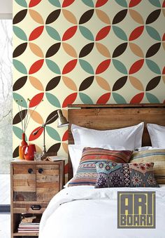 "Retro Circles Pattern - self adhesive DIY wallpaper, home decor, Peel n Stick 20.9""x8' -  G046"