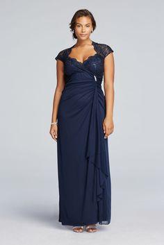 Mesh Plus Size Long Sheer Matte Jersey Mother of Bride/Groom Dress with Side Ruffles - Navy (Blue), 24W