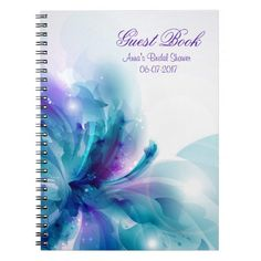 Blue & Purple Abstract Flower Shower Guest Book