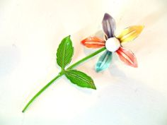 Vintage Enameled Flower Brooch by vintagebytheseashore on Etsy, $13.95