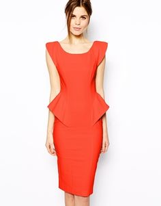 Image 1 of ASOS Pencil Dress With Structured Peplum Thick Girl Fashion 38a743725aca