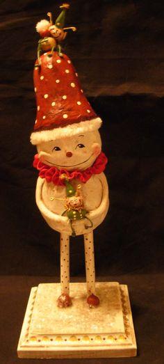 <h1<p>>BOY HOWDIE PAPIER MACHE FOLK ART by Dawn Tubbs</h1>Sculpted Christmas Folk Art, Snowman, Elves