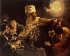 The Feast of Belshazzar - Rembrandt, Harmenszoon (Dutch, 1606 - Fine Art Reproductions, Oil Painting Reproductions - Art for Sale at Galerie Dada Rembrandt Art, Rembrandt Paintings, Oil Paintings, Renoir, Man Ray, Klimt, Pablo Picasso, Monet, Van Gogh
