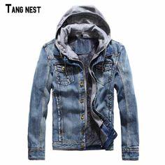 TANGNEST Men Jeans Jacket 2017 New Fashion Men's Winter Thick Denim Jackets Male Hooded Fleece Warm Jacket Jean For Male MWJ1828 #Affiliate
