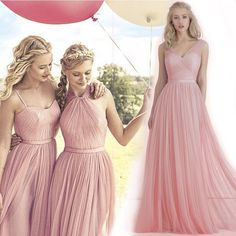 2016 New Blush Pink Flowing A Line Tulle Bridesmaid Dresses Convertible Long Plus Size Evening Gowns Maid Of Honor Cheap Gowns Cps230 Navy Bridesmaid Dress Red Bridesmaid Dress From Cinderelladress, $94.4| Dhgate.Com