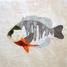 Appliqued Blue Gill Fish Quilt Block by zizzybob on Etsy