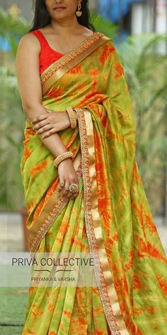 PV 3654 : Green and red Tie-dye sari Price : 4800 RS Another peppy number this summer. Green chanderi silk sari in red tie and dye print Ikkat Pattu Sarees, Silk Sarees, Saris, Silk Saree Blouse Designs, Bridal Blouse Designs, Casual Indian Fashion, Ethenic Wear, Satin Saree, Sari