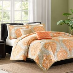 Intelligent Design Senna Comforter Set Full/Queen Size - Orange/Taupe, Damask – 5 Piece Bed Sets – All Season Ultra Soft Microfiber Teen Bedding - Great For Guest Room and Girls Bedroom Orange Comforter, Orange Duvet Covers, Down Comforter, Duvet Cover Sets, Taupe Comforter, Coral Bedding, Grey Comforter, Bed Covers, Bed Bath & Beyond