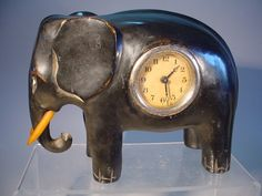 1920's Ebonised Wood & Bakelite Elephant Figure Clock