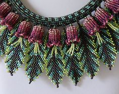 """""""Tropical Flowers and Leaves"""" - beadwoven necklace (mainly herringbone stitch), by gayhuntley on Etsy."""