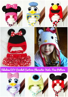20+ Fabartdiy free crochet cartoon character hat patterns