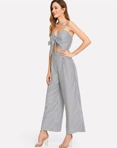 e4d89a3a274 COLROVIE Cut Out Knot Front Striped Jumpsuit 2018 New Summer Mid Waist Bow  Tie Backless Women