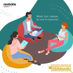 """""""Chill & Work"""" at any time of the day and be productive even while working from Home! Get comfortable bean bag on rent and add more to your place of working.   Thinking of Renting . Think of Rentickle! . . . #homefurniture #beanbags #beanbag #beanbagchair #interiordesign #interiordesigner #rentickle #interiorstyling #beanbagcomfort #cozyvibes #beanbag #workfromhome #beanbagdesigns #placeofworking"""