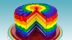 How to make a rainbow cake covered with rainbow frosting. Detailed blog post: http://cookiescupcakesandcardio.com/?p=4012 Rainbow Ice Cream Cake: http://yout...