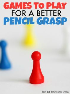 Kids can play these games to improve pencil grasp by increasing hand strength, fine motor skills and other areas needed for pencil grasp. Fine Motor Activities For Kids, Motor Skills Activities, Gross Motor Skills, Learning Activities, Preschool Fine Motor Skills, Handwriting Games, Occupational Therapy Activities, Physical Therapy, Pencil Grip