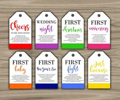 Marriage milestone wine basket tags set of 6 bridal shower gift milestone wine tags bridal shower gift basket tags first negle Image collections