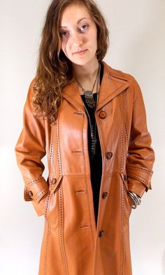 Vintage 60s Leather Coat / 1960s Leda Spain Brown Leather Coat on Etsy, $89.00