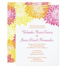Bright Colored Mums Wedding Card