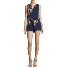 Joie Tere Floral-Print Silk Romper (4.629.790 IDR) ❤ liked on Polyvore featuring jumpsuits, rompers, blue, joie, silk romper, blue floral romper, floral rompers and sleeveless rompers