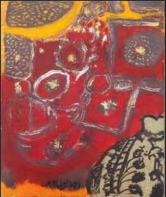 Setsuko Migishi.  Untitled.  Still life, I think.  Brings Matisse to mind,  a little.      Found by Google image search for artist, verified by catalog or gallery ID.