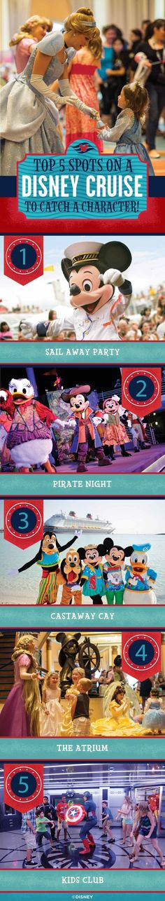 Don't miss meeting your favorite Disney pals on a Disney Cruise! Here are the Top 5 Spots you can catch a character aboard the ship.