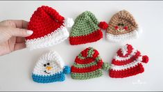 Crochet Mini Holiday Hats Crochet Christmas Ornaments, Christmas Crochet Patterns, Holiday Crochet, Christmas Decor, Christmas Ideas, Crochet Snowflakes, Christmas Hat, Crochet Yarn, Crochet Hooks