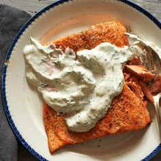 Salmon with Sour Cream-Dill Slather