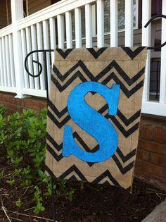 Burlap Garden Flag by JennsDoorDecorMore on Etsy, $20.00