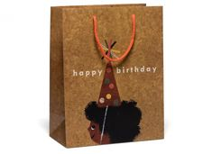 Afro Birthday Bag Bag by Christian Robinson for Red Cap Cards Birthday Bag, Happy Birthday, Christian Robinson, Specialty Paper, Bookbinding, Large Bags, Gift Bags, Special Gifts, Afro
