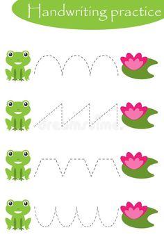 Frogs And Water Lilies, Handwriting Practice Sheet, Kids Preschool Activity, Educational Children Game, Printable Worksheet, Stock Illustration - Illustration of game, preschool: 156406640