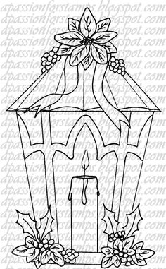 christmas candle coloring pages Christmas Lanterns, Christmas Wood, Christmas Colors, Christmas Stockings, Embroidery Patterns, Hand Embroidery, Parchment Cards, Magnolia Stamps, Christmas Drawing