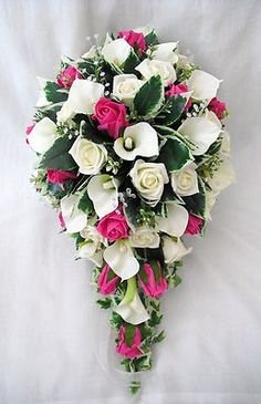 Hot Pink Wedding Bouquets | WEDDING FLOWERS BOUQUETS - BRIDES BOUQUET, CALA LILIES & HOT PINK ...