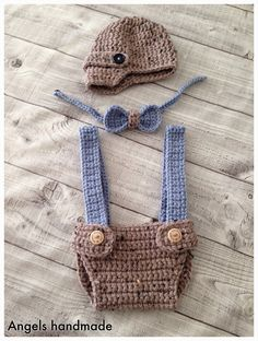 Crochet Baby adorable baby set by Angels handmade with love Baby Set, Baby Kostüm, Crochet For Boys, Love Crochet, Knit Crochet, Crotchet, Crochet Baby Clothes, Newborn Crochet, Crochet Baby Boy Hat