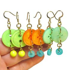 Button Dangle Earrings, Fun Earrings, Repurposed Buttons, Summer Earrings