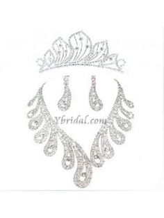 Gorgeous/Stunning Rhinestones Wedding Bridal Necklace, Earrings and Tiara Jewelry Set JAT0001 $33