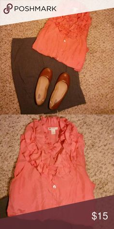J. Crew peach ruffled shirt This classy blouse adds frill to the workday. Stand out in the office with a high-fashion blouse made of 100% silk and 100% glamour. J. Crew Tops Blouses