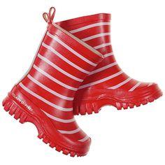 Swedish kids classic - Polarn O. Pyret red stripe rain boots!