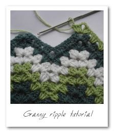 The Lazy Hobbyhopper: How to crochet granny ripple END 1ST ROW AT THE TOP OF THE UP PEAK.