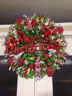 Merry Christmas elf on the shelf wreath created by Ronda Cromeens 60$