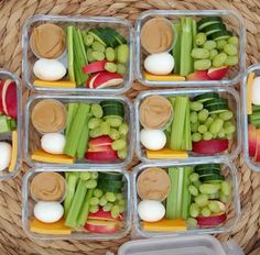 Boiled egg, hummus, cheese, celery, grapes, cukes, apples