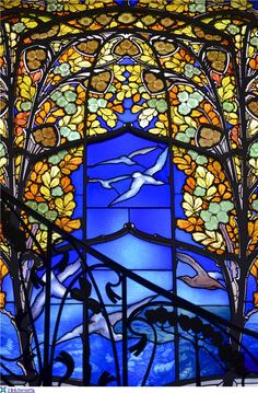 Roses and Seagulls 1905 Jacques Gruber H. Stained Glass Projects, Stained Glass Art, Stained Glass Windows, Mosaic Glass, Art Nouveau, Art Deco, Glass Rocks, Tiffany, Church Windows