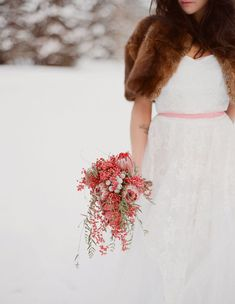 Winter Wedding Inspiration with Pink + Gold - goes to show you don't have to choose deep colours for a Winter Wedding