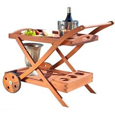 Vifah Hana Hardwood Serving Cart with Wheels ($148) ❤ liked on Polyvore featuring home, kitchen & dining, bar tools, outdoor serving cart, compartment tray, outdoor tray, outdoor bar cart and vifah