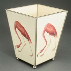 THE WELL APPOINTED HOUSE - Luxury Home Decor- Pink Flamingo Metal Wastebasket