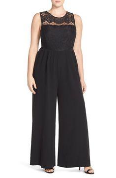 'Sheryl' Lace & Crepe Jumpsuit (Plus Size)