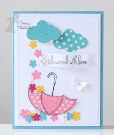 June SOTM Showered With Love Card by Shelly Mercado (umbrella and flowers) Wedding Shower Cards, Baby Shower Cards, Baby Cards, Wedding Cards, Umbrella Cards, Get Well Cards, Friendship Cards, Love Cards, Kids Cards