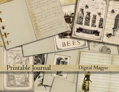 Bees DIY printable journal pages digital paper pack vintage diary old shabby paper backgrounds journaling instant download scrapbook papers by DigitalMagpie on Etsy