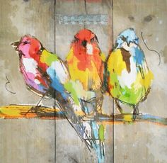 Schilderij steigerhout met vrolijke vogeltjes leuk voor in de tuin, lente